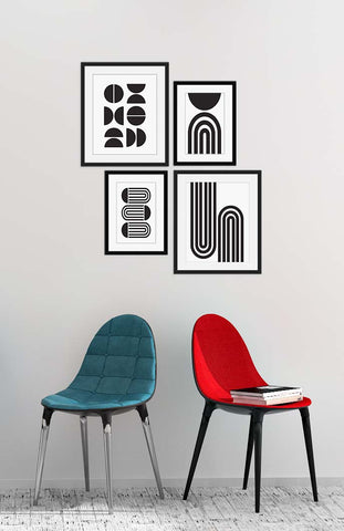 The Mirror Gallery Wall - Frames form a geometric pattern. Featuring Minimalist Wall Art by Culver and Cambridge