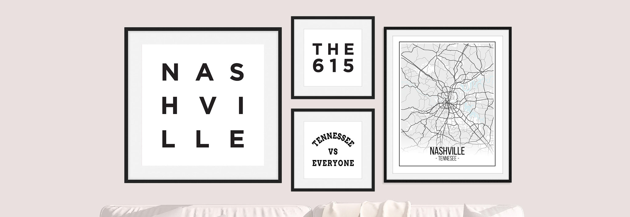 Nashville Tennessee Black and White Minimalist Wall Art by Culver and Cambridge