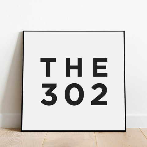 The 302 - Delaware Area Code Print: Modern Art Prints by Culver and Cambridge