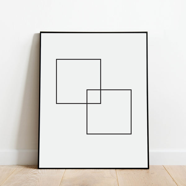 Black and White Squares Abstract Print: Modern Art Prints by Culver and Cambridge