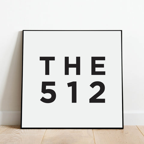 The 512 - Austin Texas Area Code Print: Modern Art Prints by Culver and Cambridge