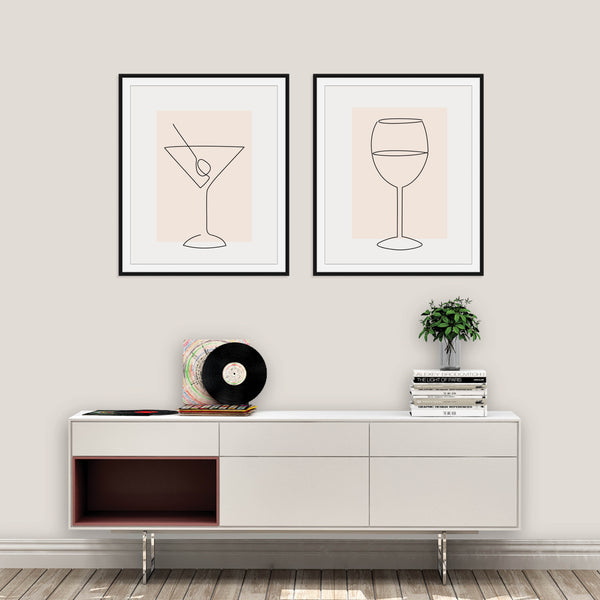 Set of Two Blush Alcohol Line Art Prints: Modern Art Prints by Culver and Cambridge