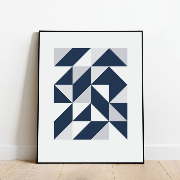 Blue Triangles Abstract Print: Modern Art Prints by Culver and Cambridge
