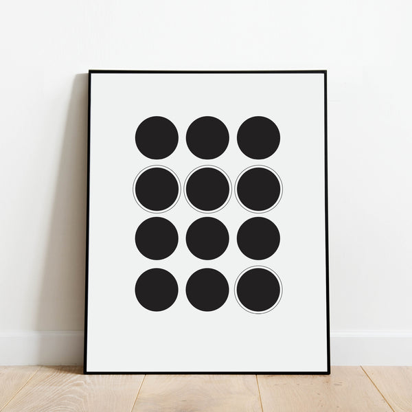 Black and White Circles Abstract Print: Modern Art Prints by Culver and Cambridge
