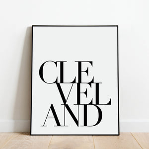 Serif Cleveland Print: Modern Black and White Art by Culver and Cambridge