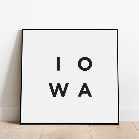 Minimalist Iowa Print: Modern Art Prints by Culver and Cambridge