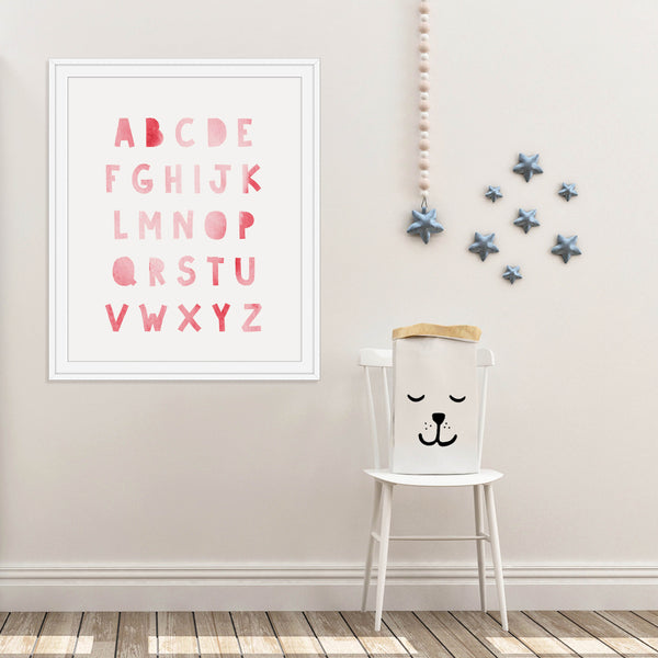 Pink ABCs Nursery Print: Modern Art Prints by Culver and Cambridge