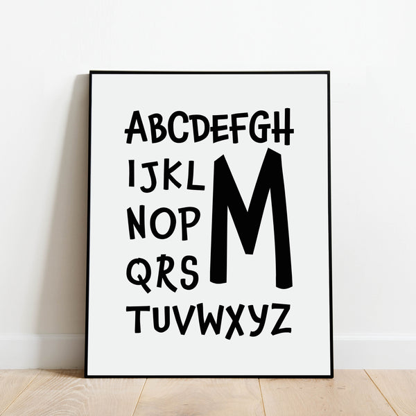 Letter M Nursery Print: Modern Art Prints by Culver and Cambridge