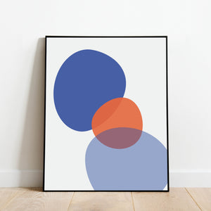 Blue and Orange Abstract Print: Modern Art Prints by Culver and Cambridge