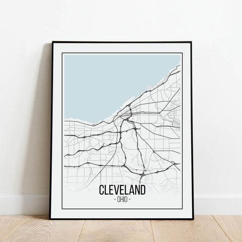 Cleveland Ohio Map Print: Modern Art Prints by Culver and Cambridge
