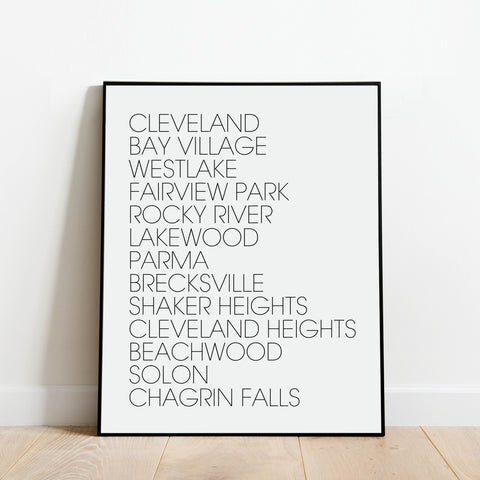 Black and white minimalist art print - Cleveland Suburbs - Cleveland, Bay Village, Westlake, Fairview Park, Rocky River, Lakewood, Parma, Brecksville, Shaker Heights, Cleveland Heights, Beachwood, Solon, Chagrin Falls