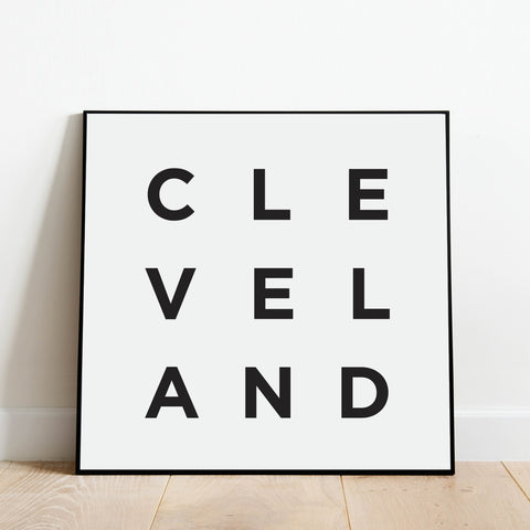 Black and white minimalist art print - Cleveland Poster