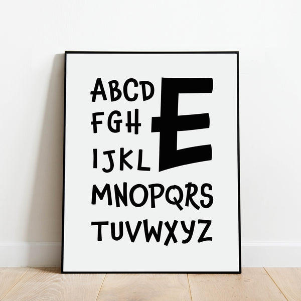 Letter E Nursery Print: Modern Art Prints by Culver and Cambridge