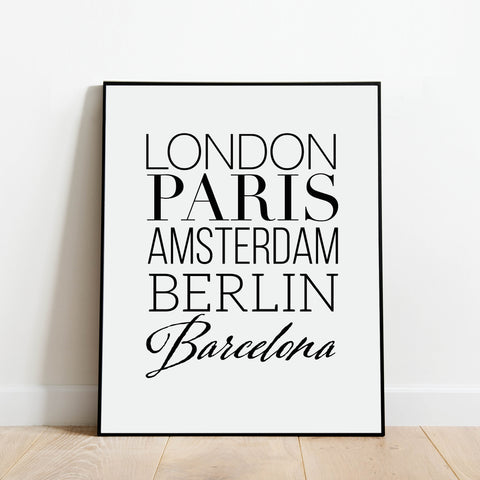 European Cities Print: Modern Art Prints by Culver and Cambridge