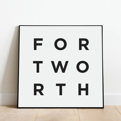 Minimalist Fort Worth Print: Modern Art Prints by Culver and Cambridge