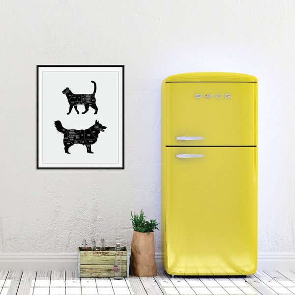 Vegan Butcher Print (Cat and Dog): Modern Art Prints by Culver and Cambridge