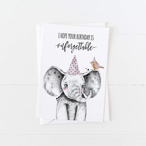 Elephant Birthday Card: I Hope Your Birthday is Unforgettable: Modern Greeting Cards by Culver and Cambridge