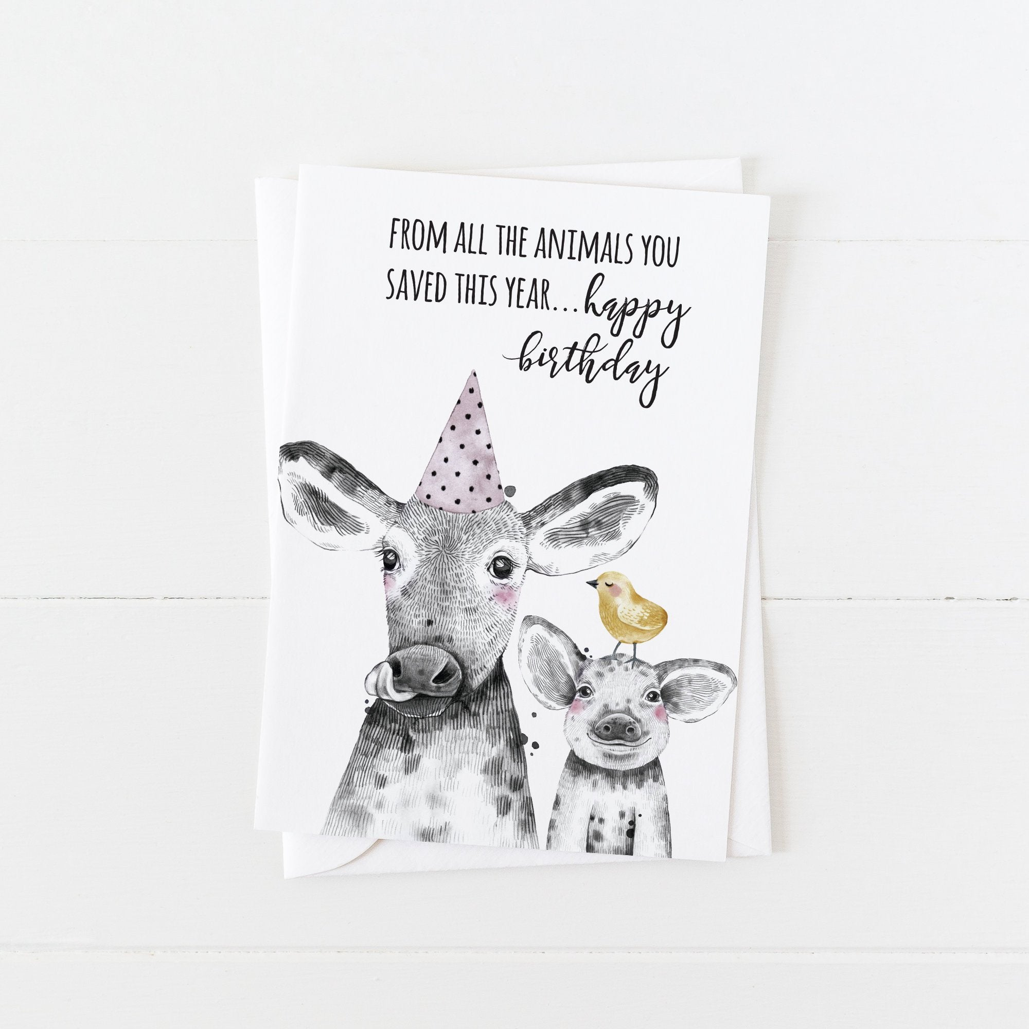 Vegan Birthday Card: From All the Animals You Saved This Year: Modern Greeting Cards by Culver and Cambridge