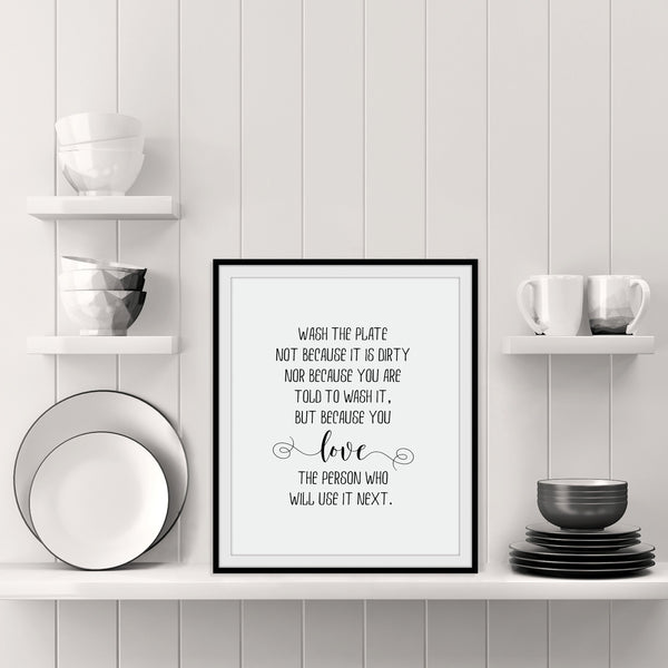 Wash the Plate Kitchen Print: Modern Art Prints by Culver and Cambridge