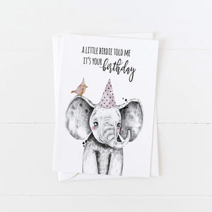 Elephant Birthday Card: A Little Birdie Told Me It's Your Birthday: Modern Greeting Cards by Culver and Cambridge