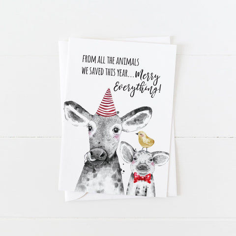 Vegan Holiday Card: From All the Animals You Saved This Year: Modern Greeting Cards by Culver and Cambridge