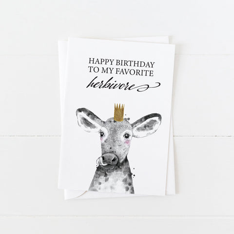 Vegan Birthday Card: Happy Birthday to My Favorite Herbivore: Modern Greeting Cards by Culver and Cambridge