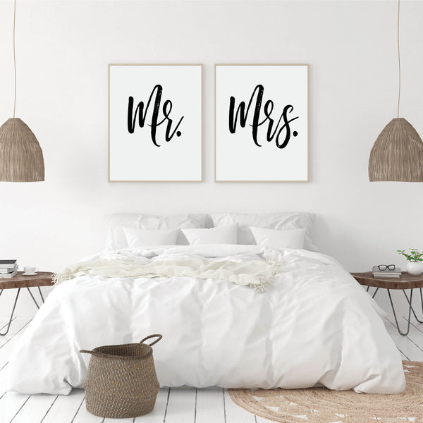 Mr and Mrs Print Set: Modern Art Prints by Culver and Cambridge