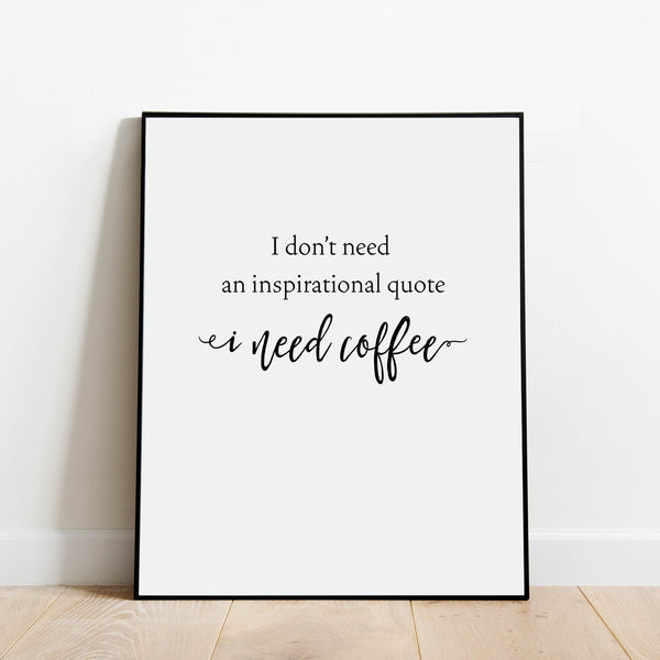 I Need Coffee Print: Modern Art Prints by Culver and Cambridge