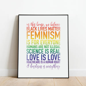 In This House We Believe Rainbow Print: Modern Art Prints by Culver and Cambridge