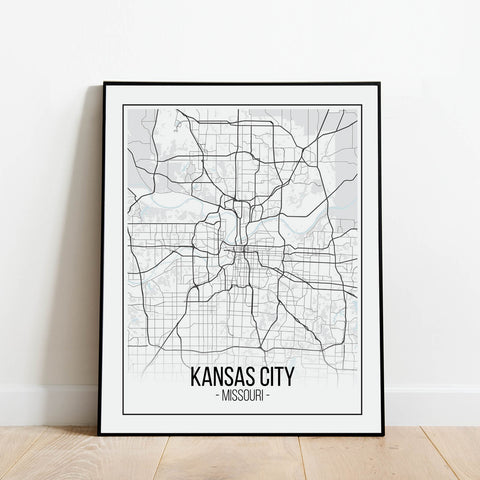 Kansas City Map Print: Modern Art Prints by Culver and Cambridge