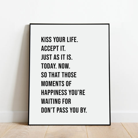 Kiss Your Life Inspirational Print: Modern Art Prints by Culver and Cambridge