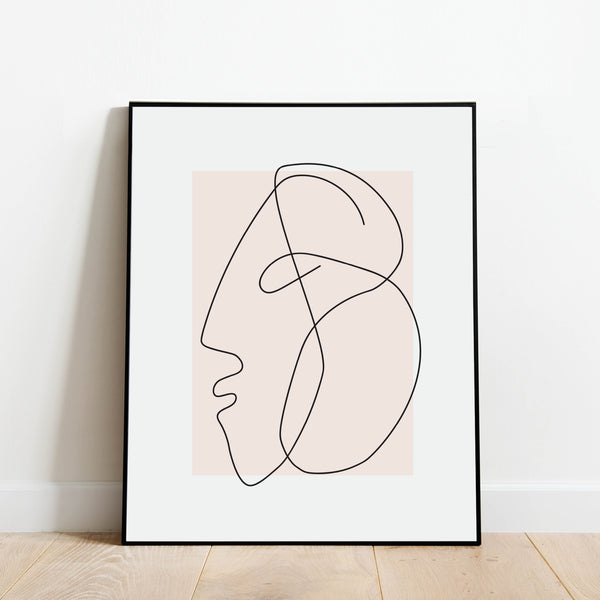 Blush Profile Line Drawing Print: Modern Art Prints by Culver and Cambridge