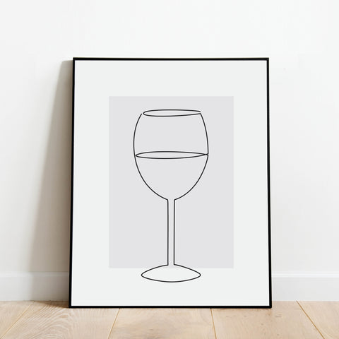 Wine Line Drawing Print: Modern Art Prints by Culver and Cambridge