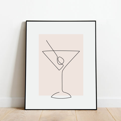 Martini Glass Line Drawing Print: Modern Art Prints by Culver and Cambridge