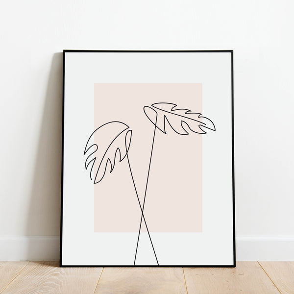 Monstera Plant Line Drawing Print: Modern Art Prints by Culver and Cambridge