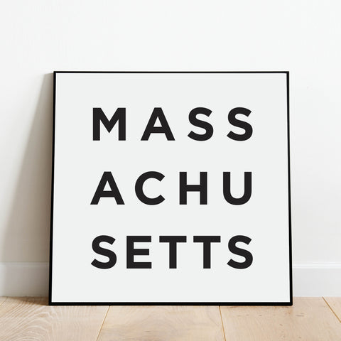 Minimalist Massachusetts Print: Modern Art Prints by Culver and Cambridge
