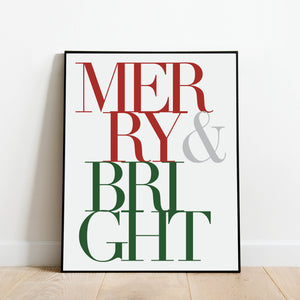 Merry and Bright Color Holiday Print: Modern Art Prints by Culver and Cambridge