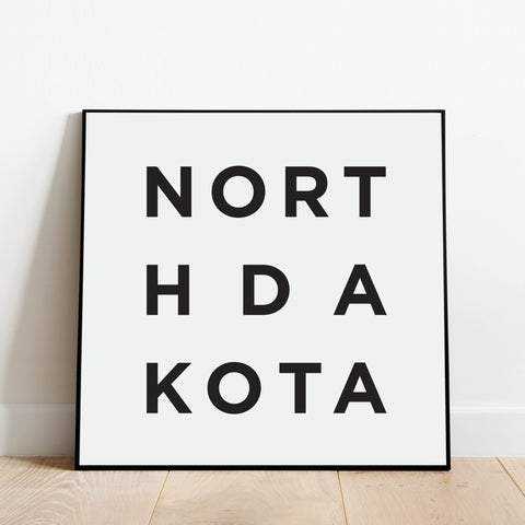 Minimalist North Dakota Print: Modern Art Prints by Culver and Cambridge