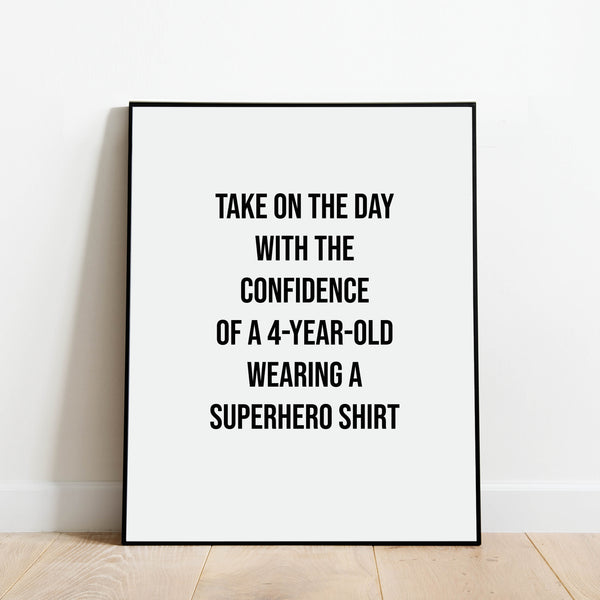 Take on the Day Superhero Print: Modern Art Prints by Culver and Cambridge