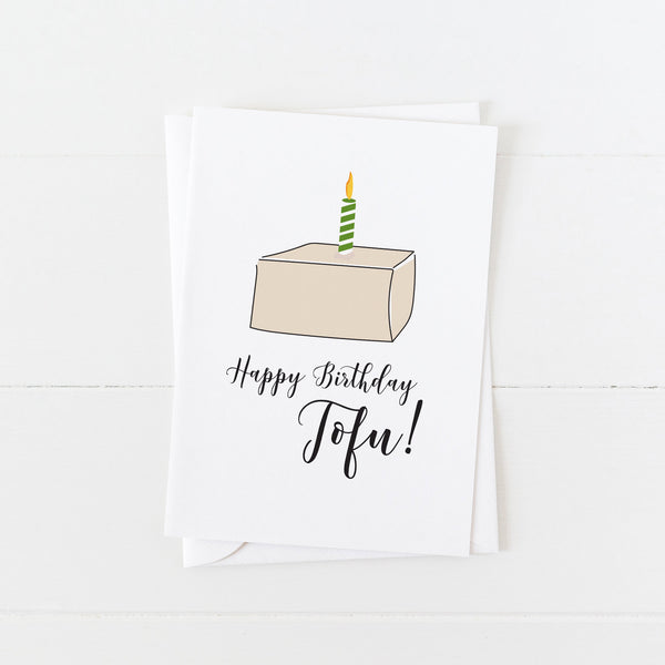 Vegan Birthday Card: Happy Birthday Tofu: Modern Greeting Cards by Culver and Cambridge