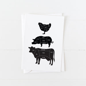 Vegan Card: Vegan Butcher Diagram: Modern Cards by Culver and Cambridge
