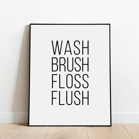 Wash Brush Floss Flush Bathroom Print: Modern Art Prints by Culver and Cambridge