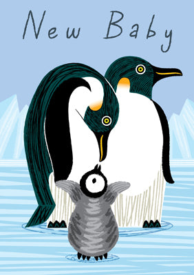 57AQ11 - New Baby (Penguin Family) Greeting Card