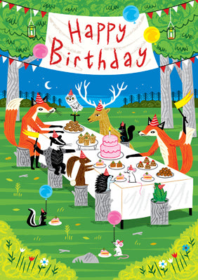 57AQ13 - Woodland Party Happy Birthday Card