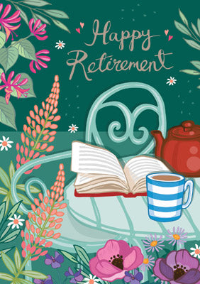 57AS91 - Happy Retirement (Book and Cuppa) Greeting Card