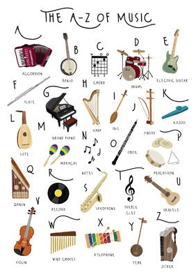 57BB63 - A-Z of Music Greeting Card