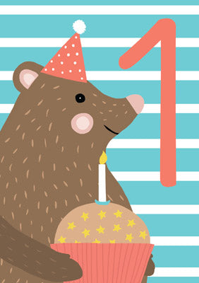 57JK09 - 1st Birthday (Bear) Birthday Card