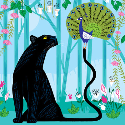 ADL134 - The Panther and the Peacock Greeting Card
