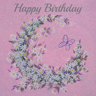 ATG108 - Butterfly and Floral Crescent Foil Greeting Card