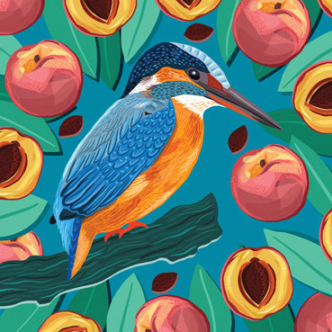 BEA127 - Kingfisher and Peaches Art Card